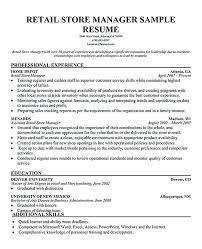resume manager sample sample resumes retail administration manager