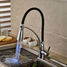led kitchen faucet led kitchen sink faucet black chrome plated cold pull out spray