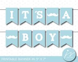 baby blue little man printable banner mustache baby shower boy