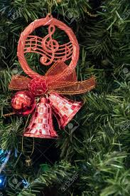 music notes christmas tree ornament background stock photo