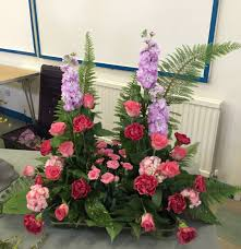 Azalea Topiary Flower Arrangement Fern Rose Carnation Berginia Stocks