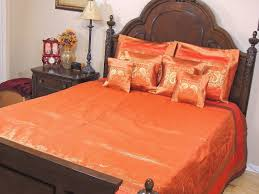 orange indian inspired peacock bedding gold brocade quilted