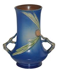 Roseville Pinecone Vase Roseville Pottery Pine Cone Blue Vase 842 8 Just Art Pottery