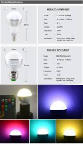 2pc dimmable e27 e14 led bulb 3w led rgb lighting ir remote