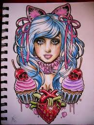 sugar tattoo design by frosttattoo cupcake skull cherry