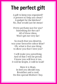 mothers u0027 day poems poem gift and craft gifts