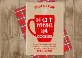 cocoa and cookies printable invite in kraft and red christmas