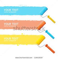 paint brush paint roller paint banners stock vector 77821414