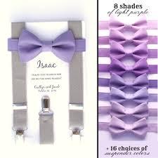 lavender bow tie and grey suspenders suspenders