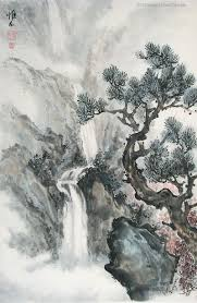 cuisine ang駘ique waterfall and mountain landscapes painted by internationally
