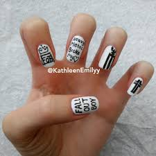 nail art by kathleenemilyy fall out boy tour nails