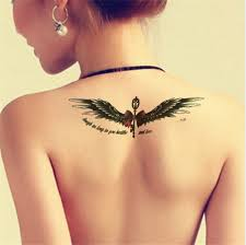 cool bow wing tattoos for waterproof decoration