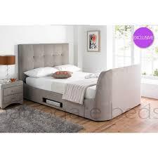 Tv Bed Frames Mink Fabric 6ft King Size Tv Bed Frame