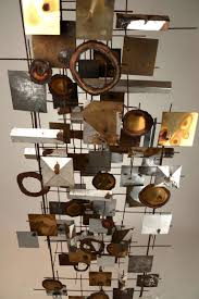 1970s mixed metals geometric collage sculpture at 1stdibs