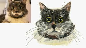 pet portraits made out of recycled materials and painted by