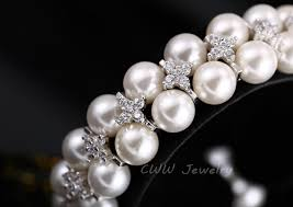 bracelet diamond pearl images Cwwzircons handmade wedding pearl jewelry double rows cubic jpg