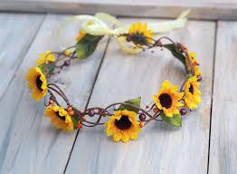 sunflower headband sunflower hair accessory hippie headband sunflower hair