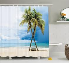 shower curtain cloudy sky boat in the sea palm trees sandy beach