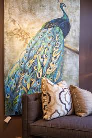 accessories modern blue peacock pattern wall painting and brown