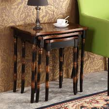 Inexpensive Side Tables Coffee Table 3 Set Retro Hand Painted Side Tables Piece For Living