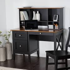 Desk With Top Shelf Rectangle Black Wooden Desk With Racks And Drawers Also Brown