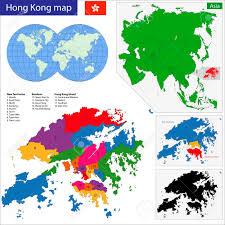 Hong Kong Flag Map Vector Map Of The Hong Kong Special Administrative Region Of