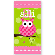owl personalized towel towel personalized
