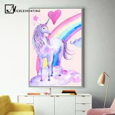 aliexpress com buy pink rainbow unicorn posters and prints