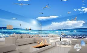 wallpaper for entire wall 3d sea wave sail boat seagull beach entire room bathroom wallpaper
