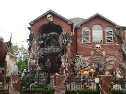 interior house decor for halloween in yard using scary pumpkins