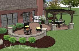 Pavers Patio Design Concrete Paver Patio Design With Pergola Plan