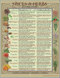 herb chart downloadable healing herbs spices kitchen chart by amalgamarts