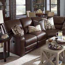 Sectional Sofas With Recliners And Cup Holders Furniture Wonderful Classic Style Dark Brown Leather Living Room