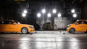 smart car crash smart fortwo safety showcased in crash test video with mercedes s