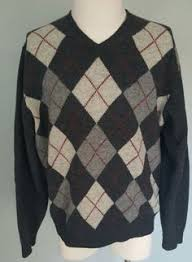 vtg titleist lambswool sweater mens l navy blue red argyle wool