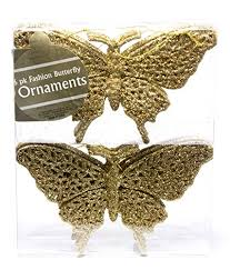 tree ornaments fashion glitter butterfly gold 165mm 6
