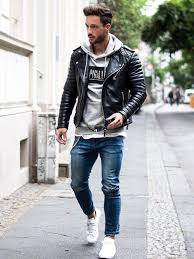 night denim sneakers layer a tee hoodie and leather jacket