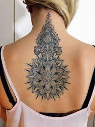 grey ink amazing flower tattoo design on spine tattoo hive
