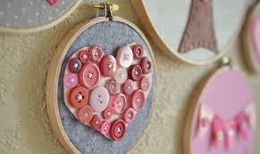 valentine u0027s day button heart embroidery hoop art cute and easy