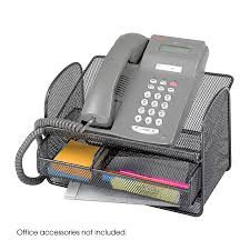 desk phone stand organizer onyx mesh telephone stand with drawer qty 5 safco products