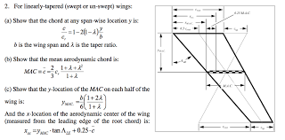 aerodynamic chord 2 for linearly tapered swept or un swept wings chegg com