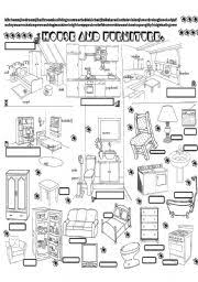 kitchen furniture names worksheet house and pieces of furniture