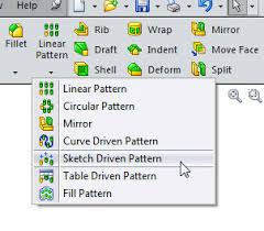 solidworks linear pattern the sketch driven pattern feature