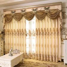 Valance Curtains For Living Room Gold Floral Jacquard Polyester Luxury Custom Valance Curtains