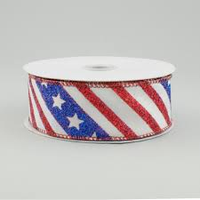 patriotic ribbon 1 5 diagonal stripe patriotic ribbon white blue 10 yards
