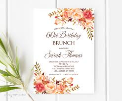 birthday brunch invitation birthday brunch invitation 60th birthday invitation fall