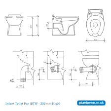 size of toilet plumbware co uk 300mm infant toilet pan