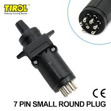 tirol black 7 pin round trailer plug trailer light connector male