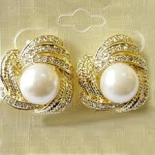 stylish gold earrings fashion gold plated tone white pearl studs earrings 21forever