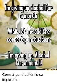 Punctuation Meme - mgiving up alcohol tor amonth wait etmeaddthe correct punctuation